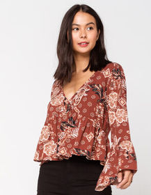 IVY & MAIN Button Front Rust Womens Babydoll Top_