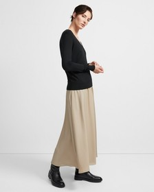 Ribbed Waist Volume Skirt in Silk
