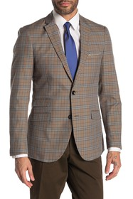 Paisley & Gray Dover Tan Blue Plaid Two Button Not