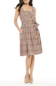 Gal Meets Glam Madison Plaid Button Front Sundress