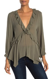 CURRENT AIR Long Sleeve Draped Neck Blouse