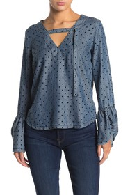 CURRENT AIR Polka Dot Bell Sleeve Chambray Top