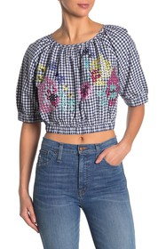 French Connection Lavande Embroidered Gingham Crop