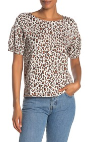 CURRENT AIR Short Sleeve Leopard Print Blouse