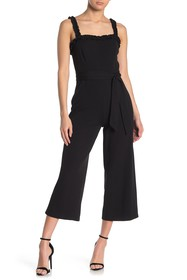 bebe Ruffle Strap Cropped Jumpsuit