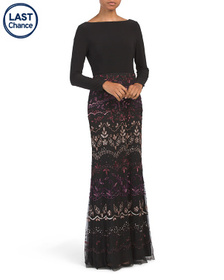 ADRIANNA PAPELL Long Sleeve Bead And Sequin Embell