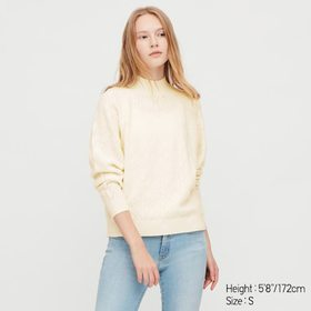 Women Light Souffle Yarn Pointelle Crew Neck Sweat