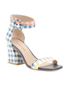 Reveal Designer Printed Leather Ankle Strap Heeled