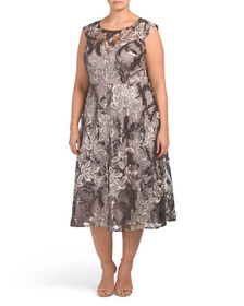 R&M RICHARDS Plus Embroidered Sequins Fit And Flar