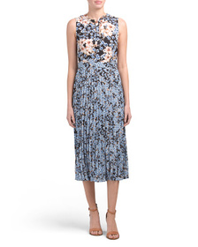 DONNA MORGAN Tie Neck Dress With Pleat Skirt