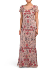 JS COLLECTIONS Illusion Floral Gown