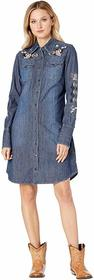 Stetson Shirtweight Denim Dress with Rose Embroide