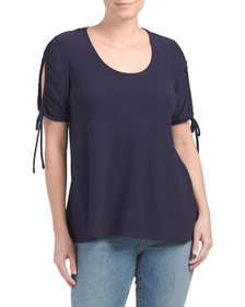 CHAUS Ruched Split Sleeve Top