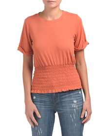 KINLY Made In Usa Cotton Jersey Smocked Tee