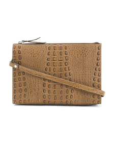 CLAUDIA Made In Italy Leather Clutch With Strap