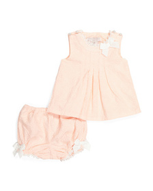 CATHERINE MALANDRINO Newborn Lace Top & Bloomer Se