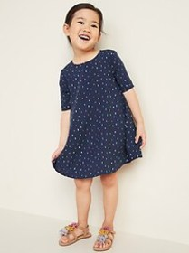 Printed Elbow-Sleeve Swing Dress for Toddler Girls