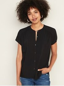 Soft-Washed Button-Front Twill Blouse for Women