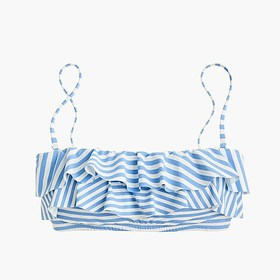 J. Crew Ruffle bandeau bikini top in mixed stripe