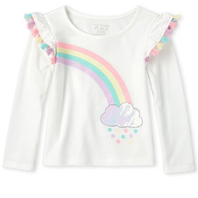 Baby And Toddler Girls Tassel Rainbow Top