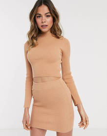 Brave Soul ribbed sweater two-piece in camel