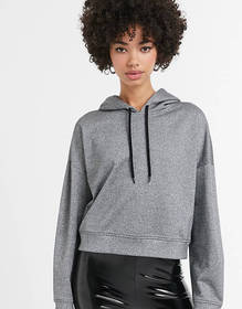 Monki metallic sparkle cropped hoodie in silver