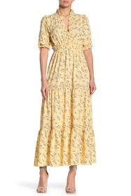 Max Studio Elbow Length Sleeve Print Tiered Maxi D
