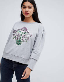 Chorus Mutton Sleeve Sweater with Sequin Floral