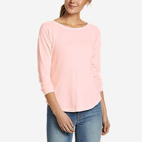 Women's Gate Check Raglan-Sleeve Shirttail T-Shirt