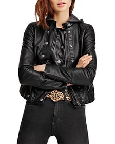 Free People - New Dawn Hooded Faux-Leather Jacket