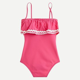 J. Crew Ruffle bandeau one-piece swimsuit in piqué