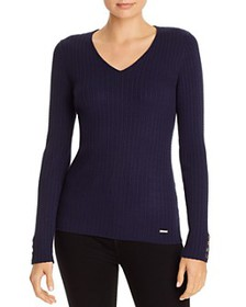 T Tahari - V-Neck Button Accent Ribbed Top