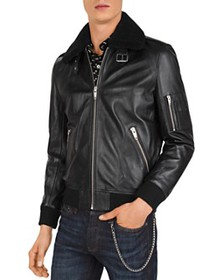 The Kooples - Lissato Shearling-Collar Leather Jac