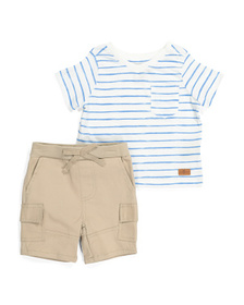 7 FOR ALL MANKIND Baby Boys 2pc Cargo Short Set