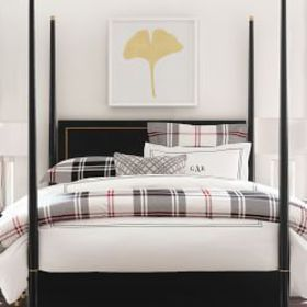 Highland Printed Flannel Duvet Cover & Shams, Blac