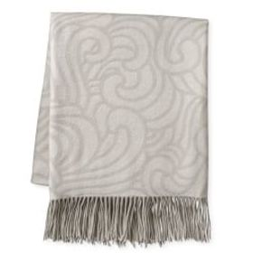 Novelty Wave Patterned Jacquard Cashmere Throw, Gr