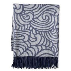 Novelty Wave Patterned Jacquard Cashmere Throw, Na