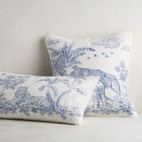 Lanta Embroidered Toile Lumbar Pillow Cover