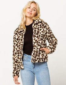 OTHERS FOLLOW Leopard Sherpa Womens Jacket_