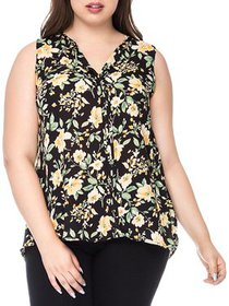 Bobeau Womens Plus Lily Floral Pleated Pullover To