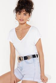 Nasty Gal White Leave It With V Open Back Tee
