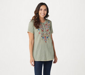 LOGO Lavish by Lori Goldstein Woven Top with Lace