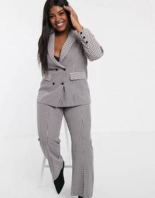 Fashion Union Plus suit in mixed check two-piece
