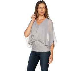 """As Is"" Laurie Felt Knit Lace Top with Chiffon Ove"