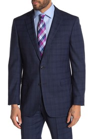 Brooks Brothers Navy Windowpane Two Button Notch L