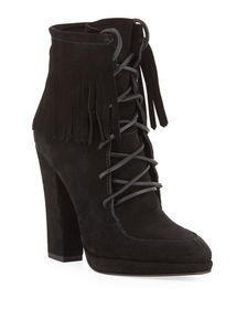 Giuseppe Zanotti Lace-Up Suede Fringe Booties