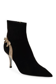 Rene Caovilla Suede Booties with Strass Bow