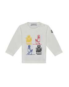 Moncler Long-Sleeve Robot Embroidered Top, White,
