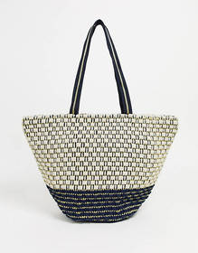 America & Beyond Woven Beach Tote Bag
