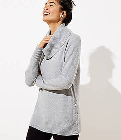 Side Button Cowl Tunic Sweater